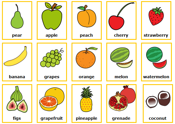 Las frutas en ingles para niños